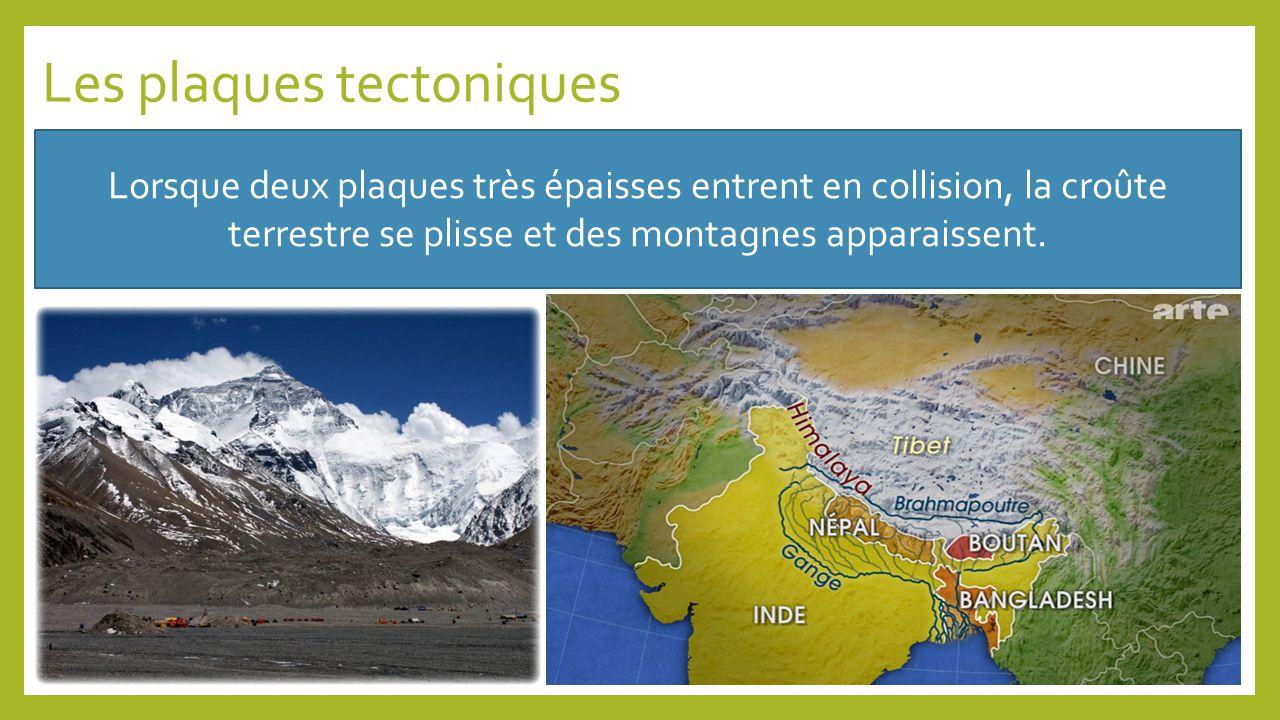 Les plaques tectoniques Lorsque deux plaques très épaisses entrent en collision, la croûte terrestre se plisse et des montagnes apparaissent.