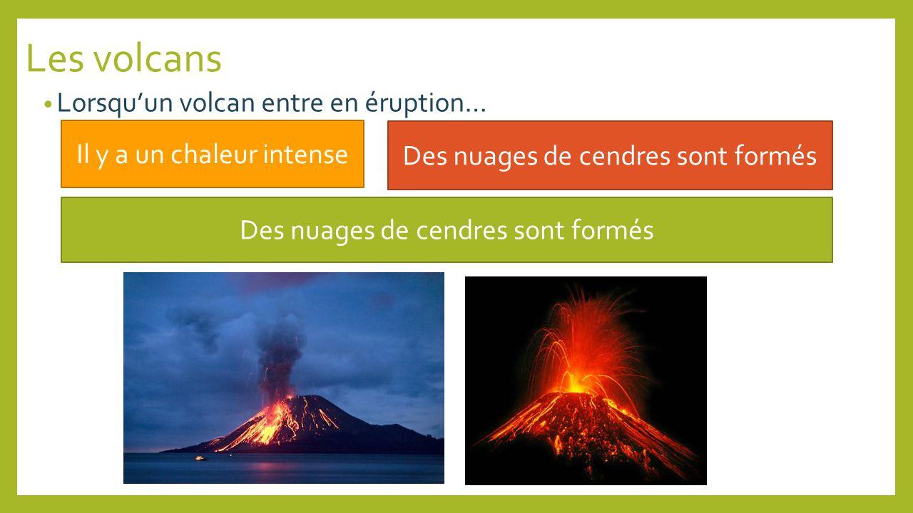 Lorsquun volcan entre en éruption… Il y a un chaleur intense Des nuages de cendres sont formés