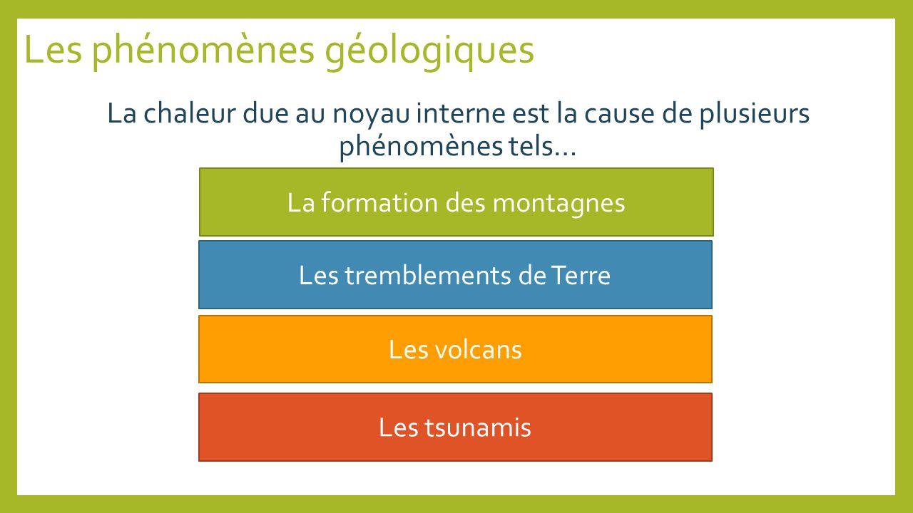 Les phénomènes géologiques La chaleur due au noyau interne est la cause de plusieurs phénomènes tels… La formation des montagnes Les tremblements de Terre Les volcans Les tsunamis
