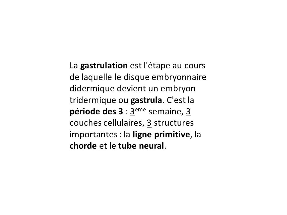 La gastrulation est l'étape au cours de laquelle le disque embryonnaire didermique devient un embryon tridermique ou gastrula. C'est la période des 3