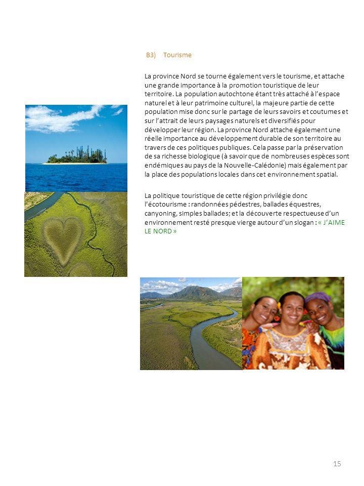 B3) Tourisme La province Nord se tourne également vers le tourisme, et attache une grande importance à la promotion touristique de leur territoire. La
