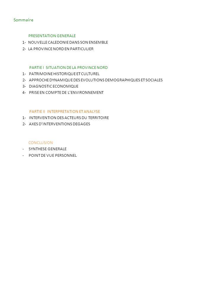 Sommaire PRESENTATION GENERALE 1- NOUVELLE CALEDONIE DANS SON ENSEMBLE 2- LA PROVINCE NORD EN PARTICULIER PARTIE I SITUATION DE LA PROVINCE NORD 1- PA