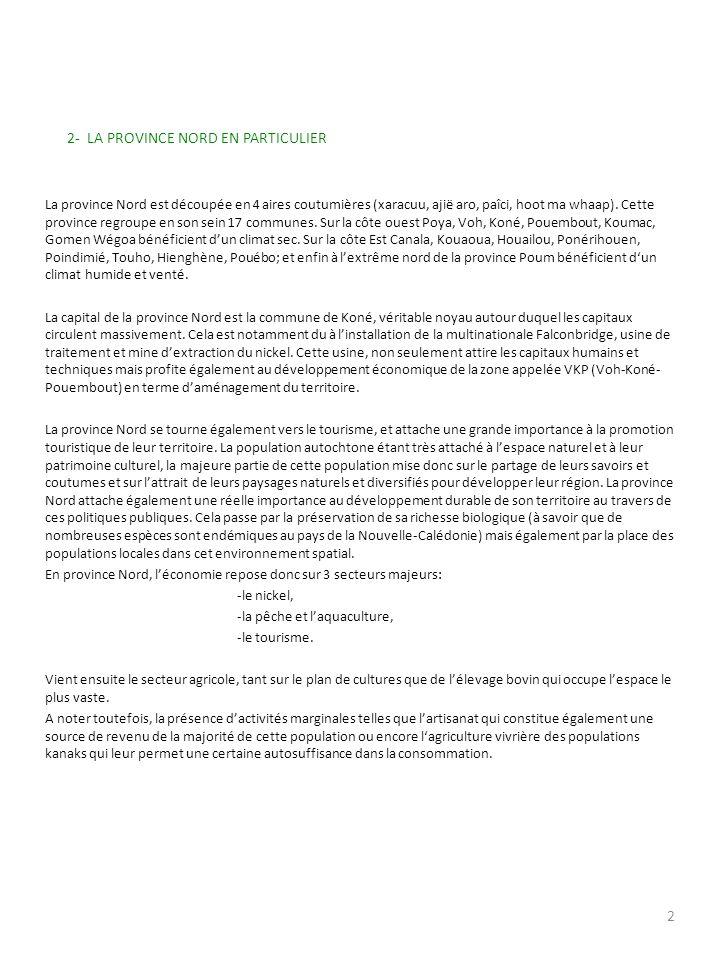 PARTIE I SITUATION DE LA PROVINCE NORD 1- PATRIMOINE HISTORIQUE ET CULTUREL En concourant à lentière application de laccord de Nouméa signé le 5 mai 1998 et de laccord particulier sur le développement culturel de la Nouvelle-Calédonie signé le 22 janvier 2002, la province nord a fait de la pleine reconnaissance de la culture kanak et de lexpression de la diversité culturelle les 2 axes majeurs de sa politique.