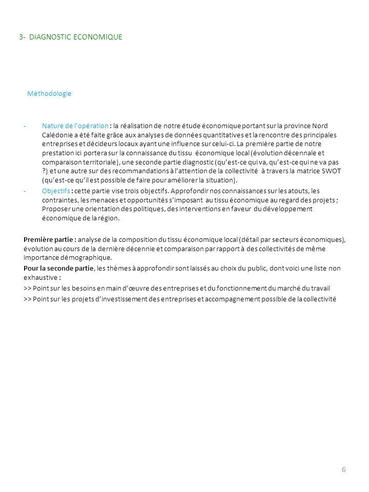 3- DIAGNOSTIC ECONOMIQUE Méthodologie -Nature de lopération : la réalisation de notre étude économique portant sur la province Nord Calédonie a été fa