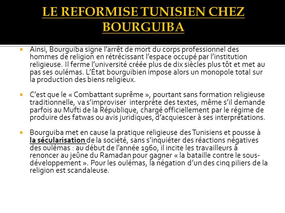 Ainsi, Bourguiba signe larrêt de mort du corps professionnel des hommes de religion en rétrécissant lespace occupé par linstitution religieuse.
