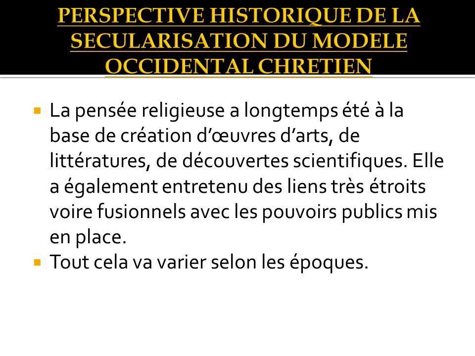 La pensée religieuse a longtemps été à la base de création dœuvres darts, de littératures, de découvertes scientifiques.