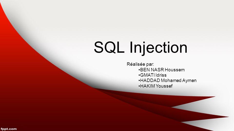 SQL Injection Réalisée par: BEN NASR Houssem GMATI Idriss HADDAD Mohamed Aymen HAKIM Youssef