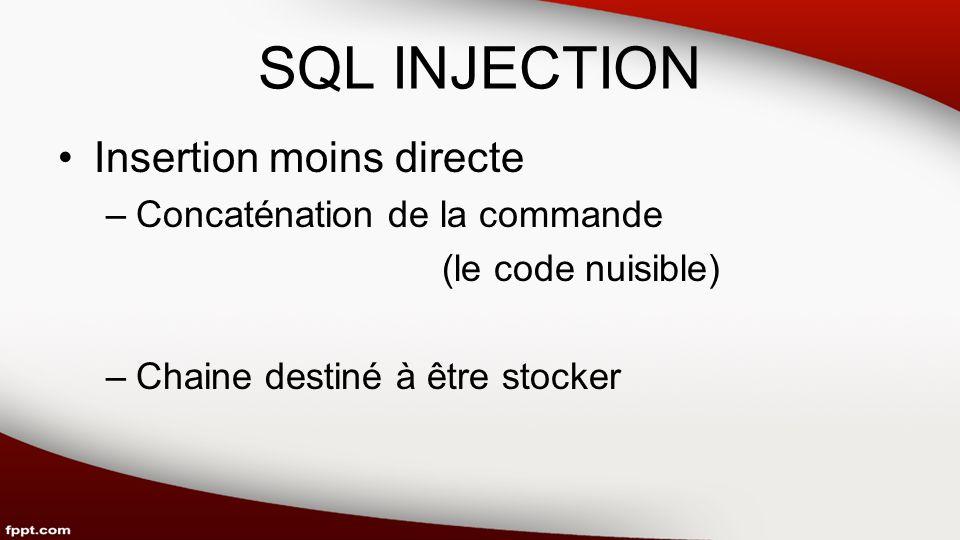 SQL INJECTION Insertion moins directe –Concaténation de la commande (le code nuisible) –Chaine destiné à être stocker