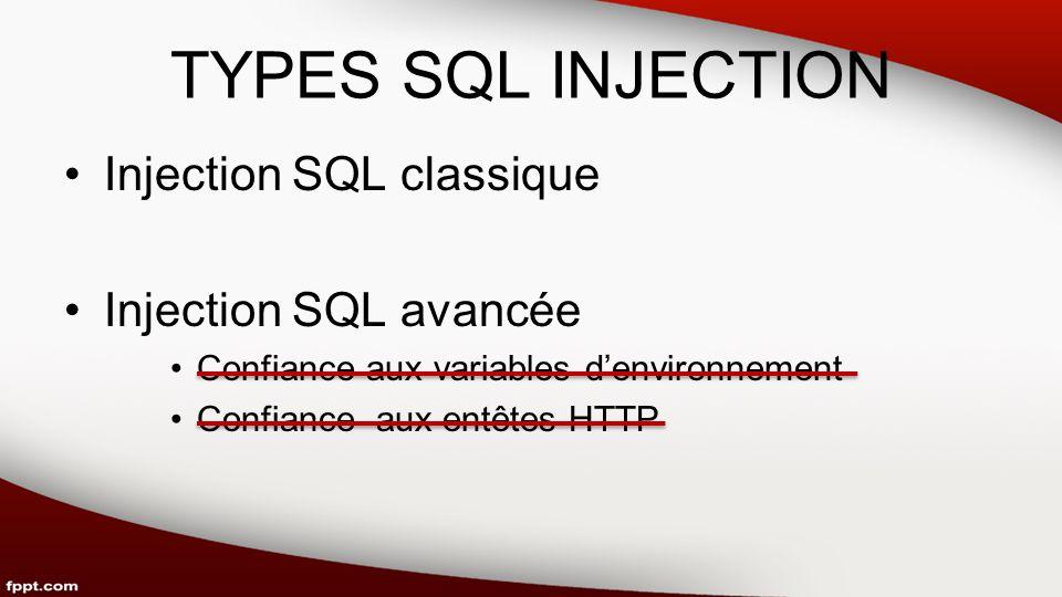 TYPES SQL INJECTION Injection SQL classique Injection SQL avancée Confiance aux variables denvironnement Confiance aux entêtes HTTP