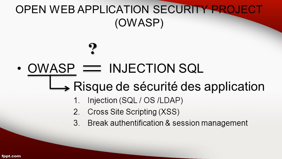 OPEN WEB APPLICATION SECURITY PROJECT (OWASP) .