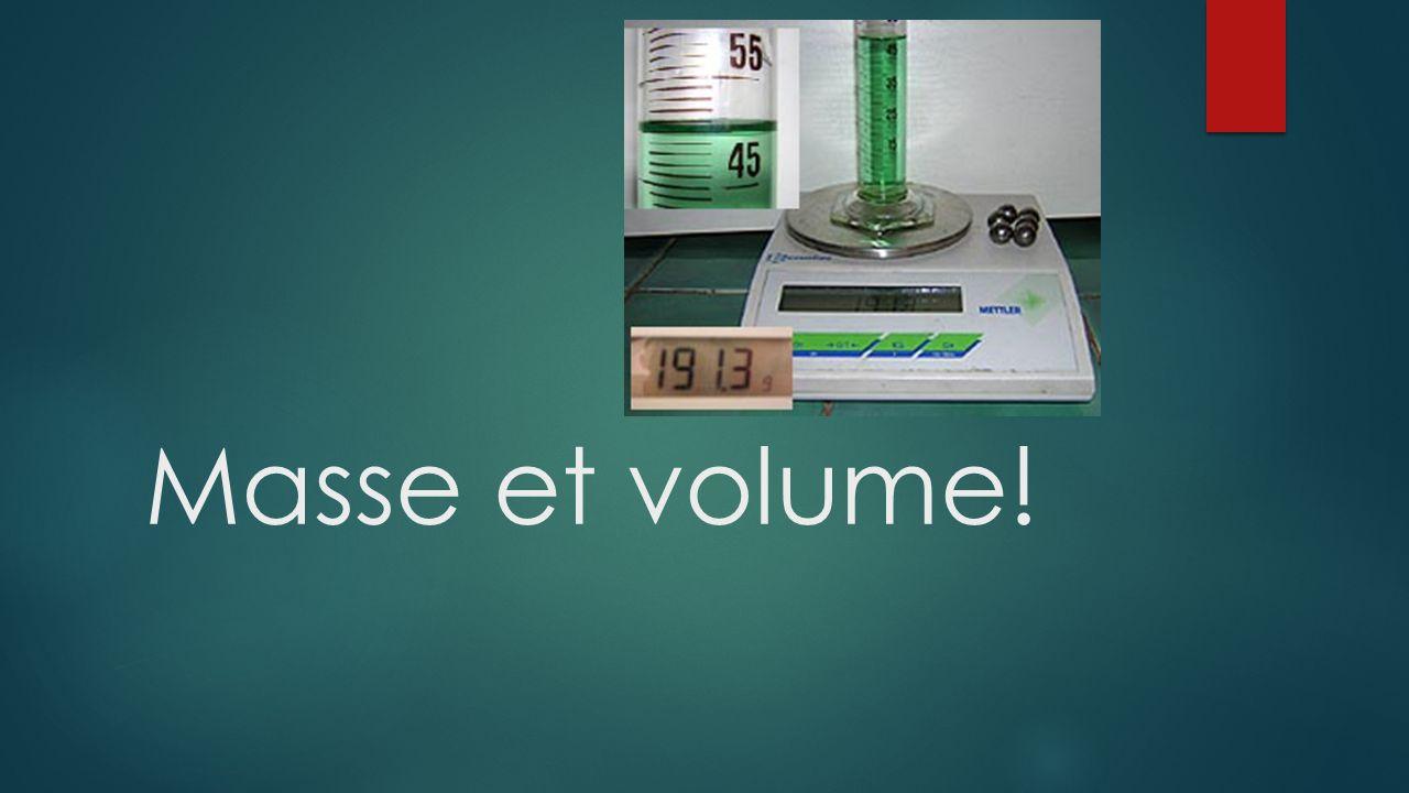 Masse et volume!