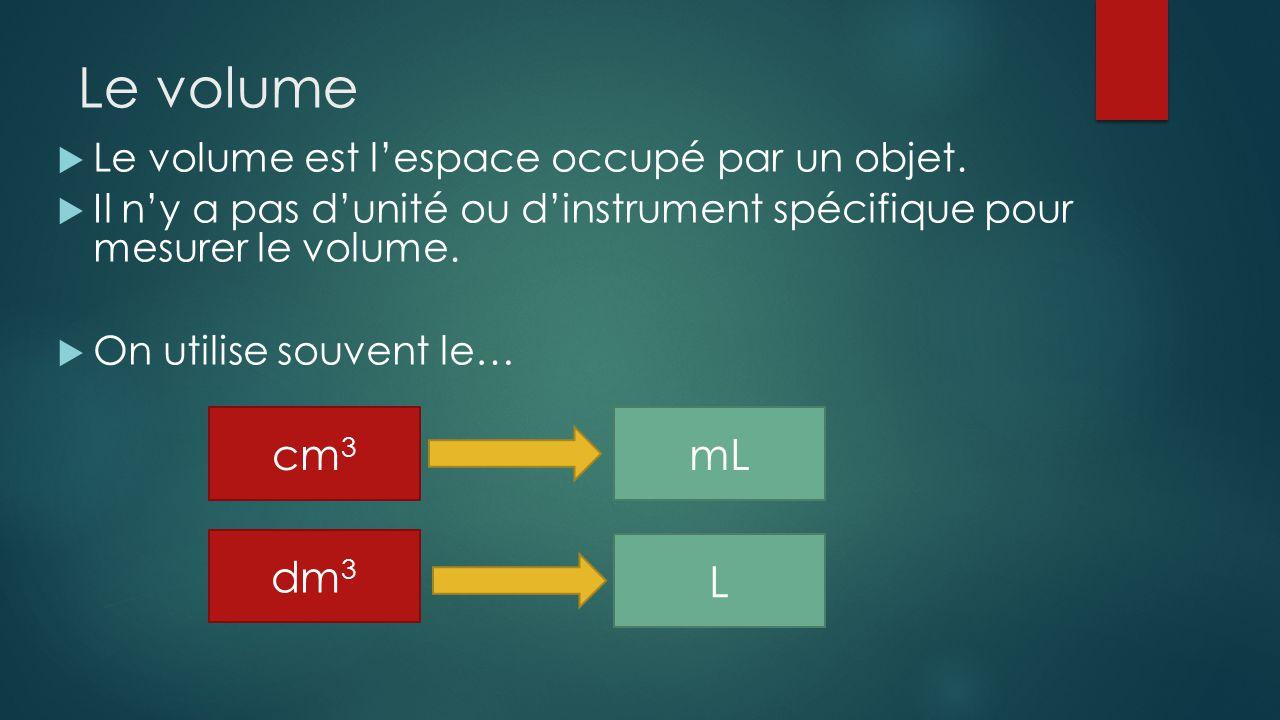 Le volume Le volume est lespace occupé par un objet. Il ny a pas dunité ou dinstrument spécifique pour mesurer le volume. On utilise souvent le… cm 3