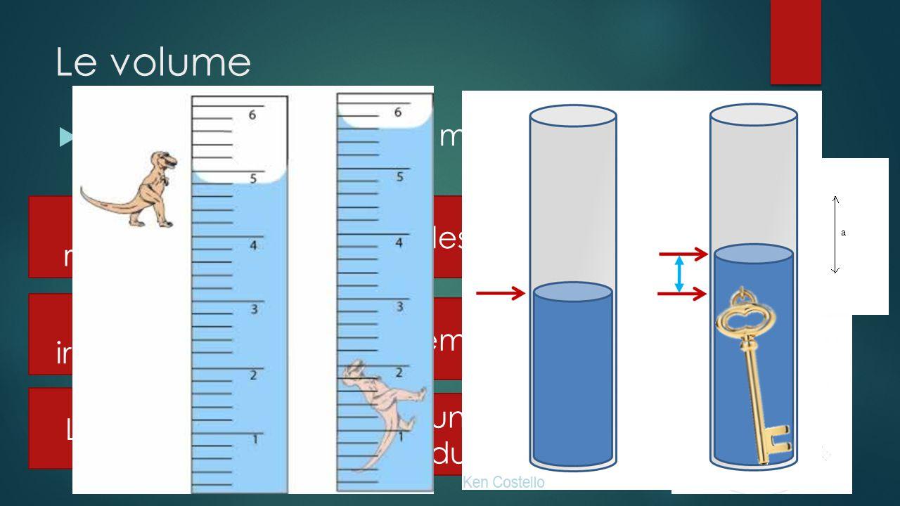 Le volume Il y a plusieurs trucs pour mesurer le volume dun objet. Solide régulier Solide irrégulier Liquide Mesurer les côtés Par déplacement deau À