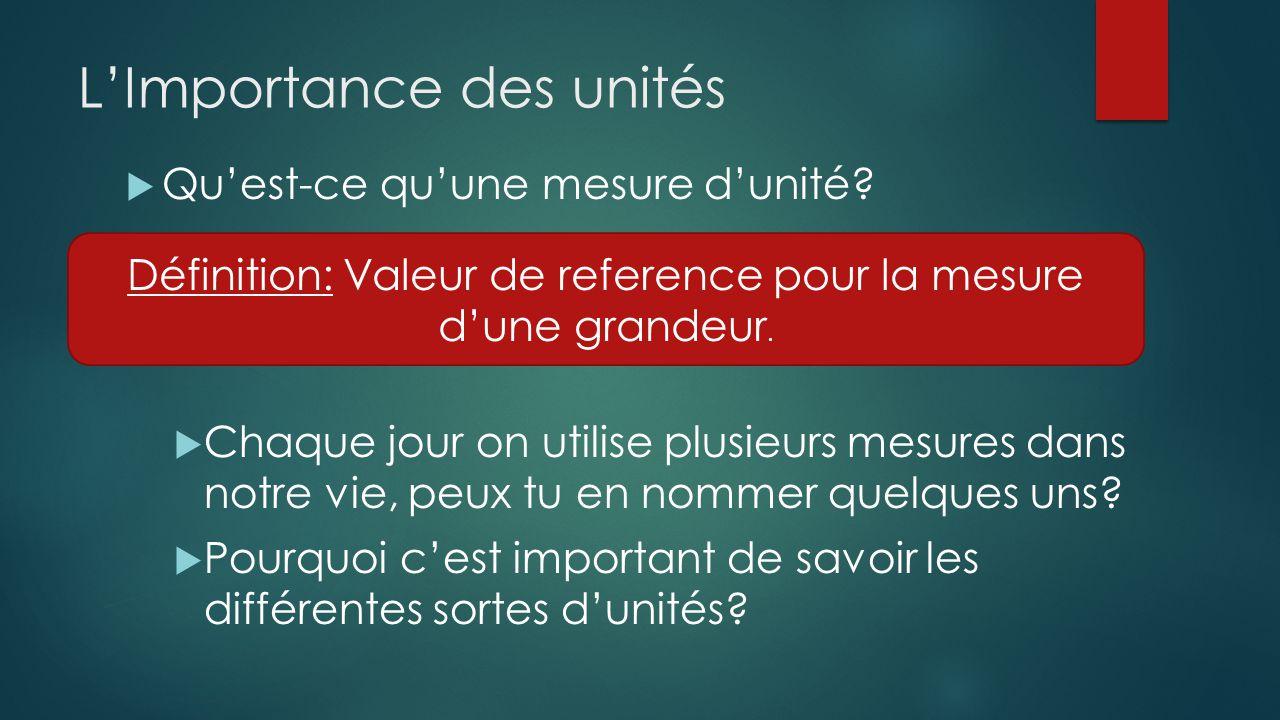 LImportance des unités Quest-ce quune mesure dunité? Chaque jour on utilise plusieurs mesures dans notre vie, peux tu en nommer quelques uns? Pourquoi