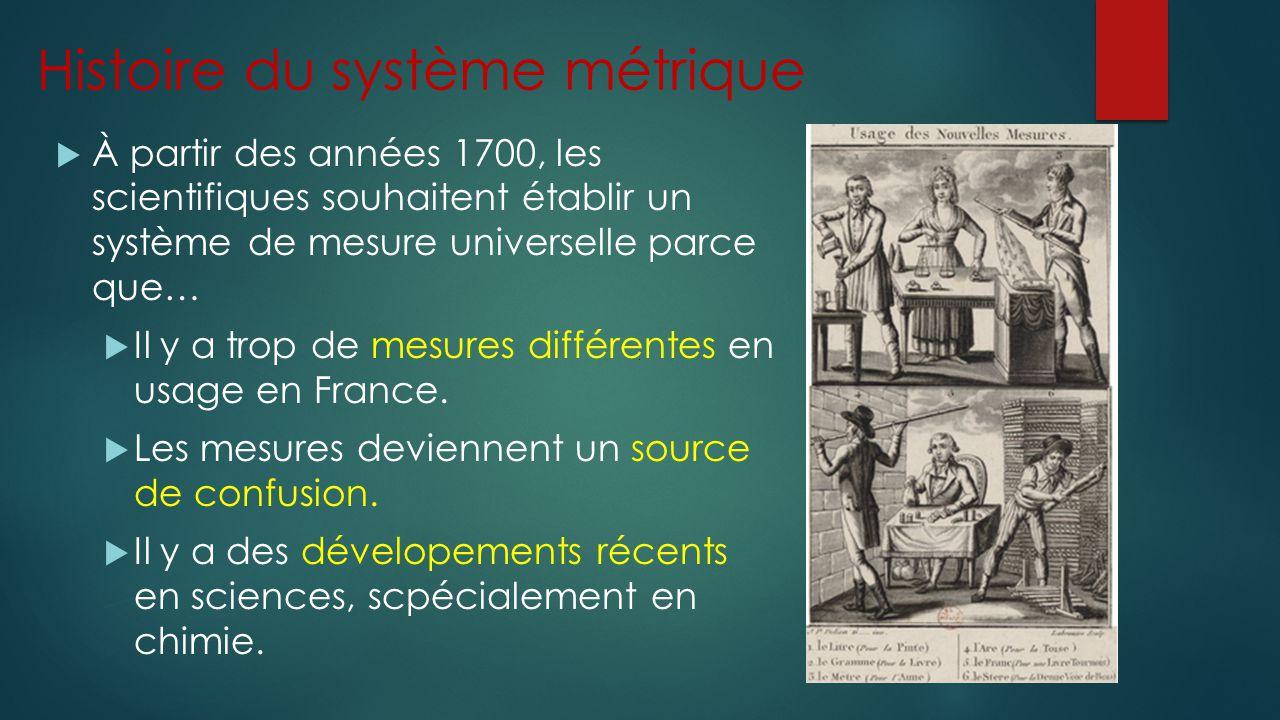Histoire du système métrique À partir des années 1700, les scientifiques souhaitent établir un système de mesure universelle parce que… Il y a trop de