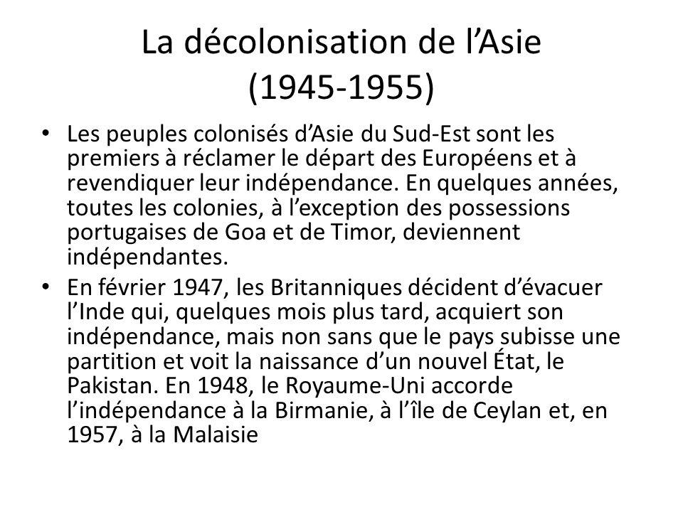 La décolonisation de lAsie (1945-1955) Les peuples colonisés dAsie du Sud-Est sont les premiers à réclamer le départ des Européens et à revendiquer leur indépendance.