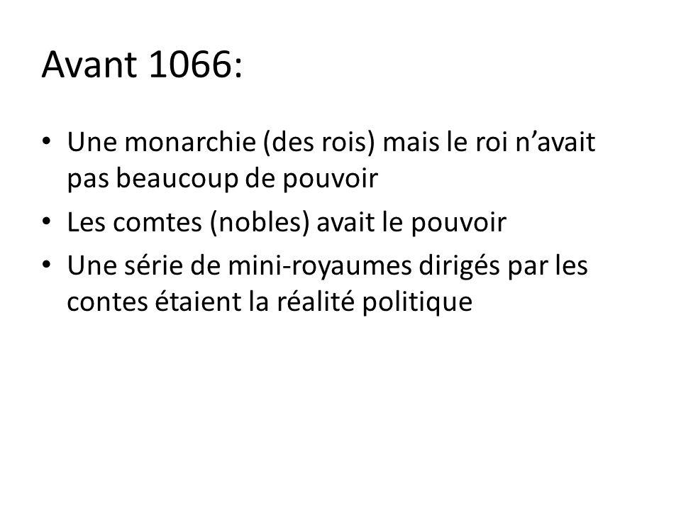 Avant 1066: Une monarchie (des rois) mais le roi navait pas beaucoup de pouvoir Les comtes (nobles) avait le pouvoir Une série de mini-royaumes dirigé