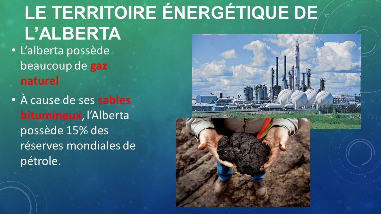 LE TERRITOIRE ÉNERGÉTIQUE DE LALBERTA Lalberta possède beaucoup de gaz naturel À cause de ses sables bitumineux, lAlberta possède 15% des réserves mon