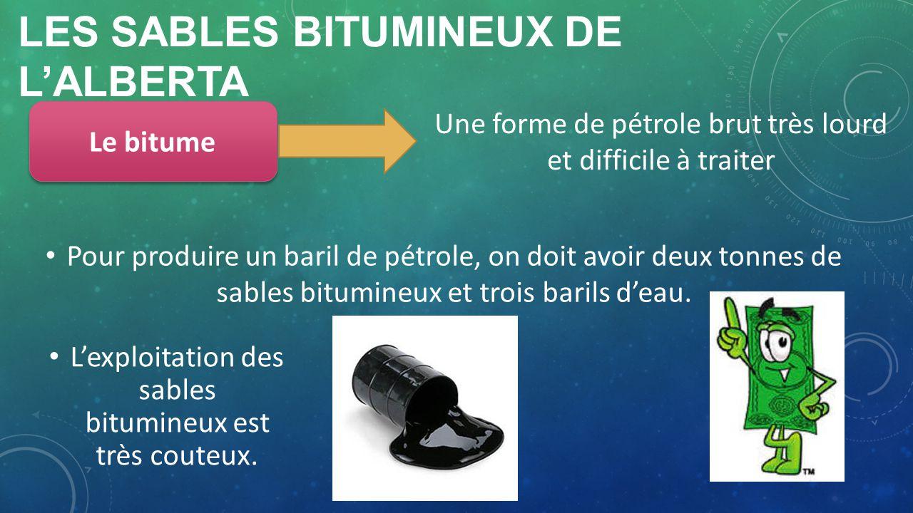 LES SABLES BITUMINEUX DE LALBERTA Une forme de pétrole brut très lourd et difficile à traiter Le bitume Pour produire un baril de pétrole, on doit avo
