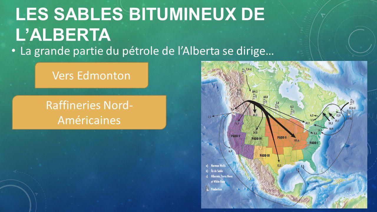 LES SABLES BITUMINEUX DE LALBERTA Vers Edmonton Raffineries Nord- Américaines La grande partie du pétrole de lAlberta se dirige…