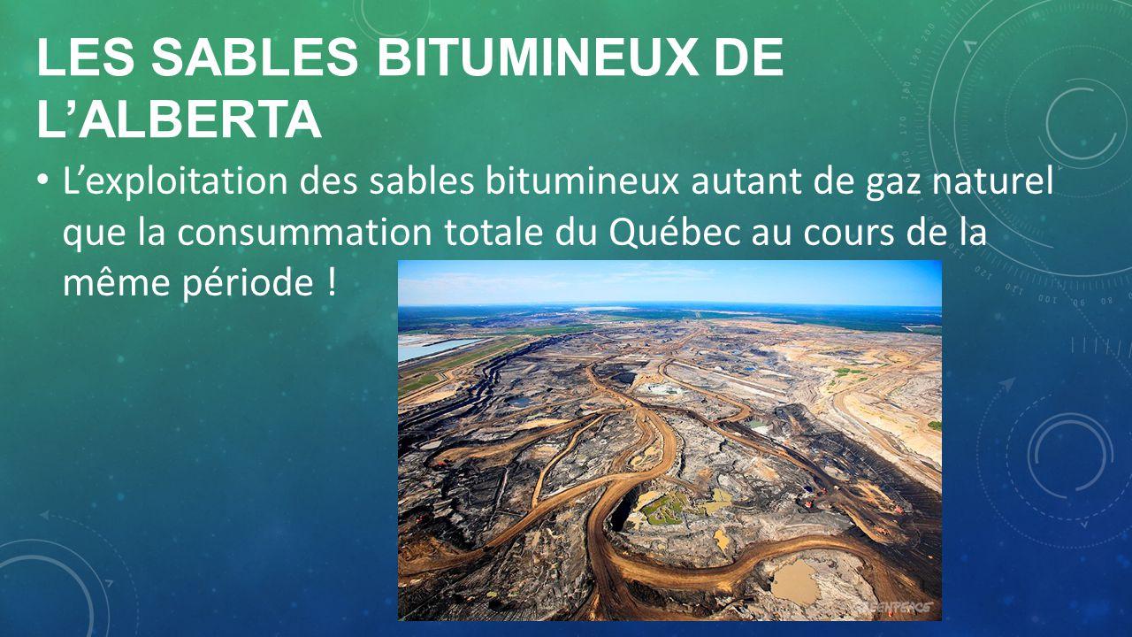 LES SABLES BITUMINEUX DE LALBERTA Lexploitation des sables bitumineux autant de gaz naturel que la consummation totale du Québec au cours de la même p