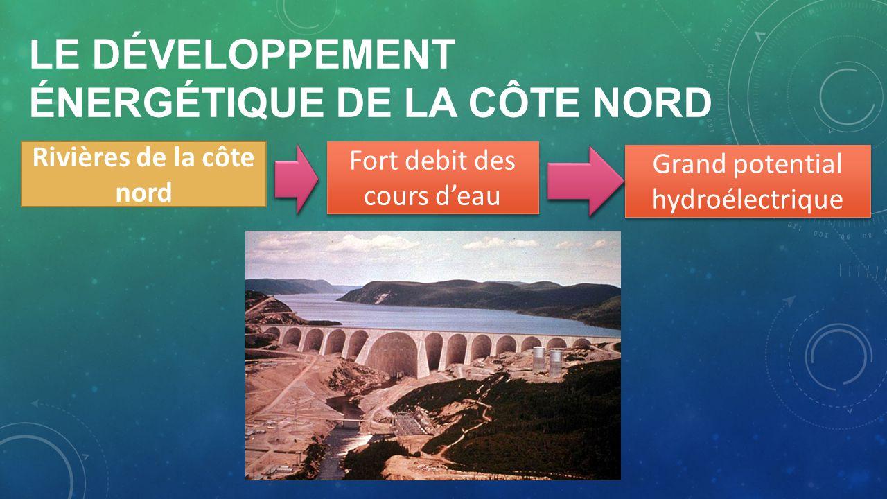 LE DÉVELOPPEMENT ÉNERGÉTIQUE DE LA CÔTE NORD Rivières de la côte nord Fort debit des cours deau Grand potential hydroélectrique