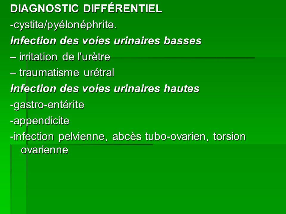 DIAGNOSTIC DIFFÉRENTIEL -cystite/pyélonéphrite.