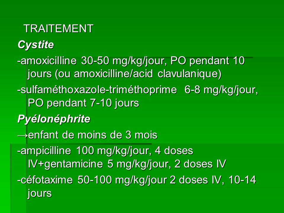 TRAITEMENT TRAITEMENTCystite -amoxicilline 30-50 mg/kg/jour, PO pendant 10 jours (ou amoxicilline/acid clavulanique) -sulfaméthoxazole-triméthoprime 6-8 mg/kg/jour, PO pendant 7-10 jours Pyélonéphrite enfant de moins de 3 mois -ampicilline 100 mg/kg/jour, 4 doses IV+gentamicine 5 mg/kg/jour, 2 doses IV -céfotaxime 50-100 mg/kg/jour 2 doses IV, 10-14 jours