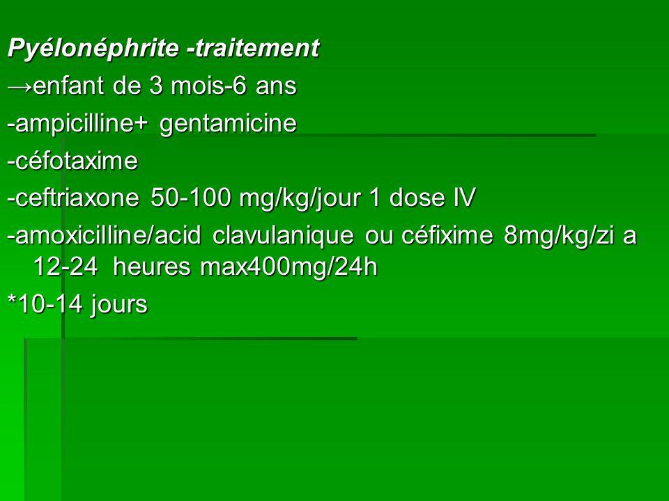 Pyélonéphrite -traitement enfant de 3 mois-6 ans -ampicilline+ gentamicine -céfotaxime -ceftriaxone 50-100 mg/kg/jour 1 dose IV -amoxicilline/acid clavulanique ou céfixime 8mg/kg/zi a 12-24 heures max400mg/24h *10-14 jours