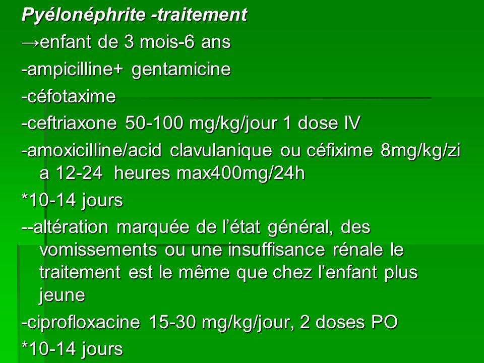 Pyélonéphrite -traitement enfant de 3 mois-6 ans -ampicilline+ gentamicine -céfotaxime -ceftriaxone 50-100 mg/kg/jour 1 dose IV -amoxicilline/acid clavulanique ou céfixime 8mg/kg/zi a 12-24 heures max400mg/24h *10-14 jours --altération marquée de létat général, des vomissements ou une insuffisance rénale le traitement est le même que chez lenfant plus jeune -ciprofloxacine 15-30 mg/kg/jour, 2 doses PO *10-14 jours