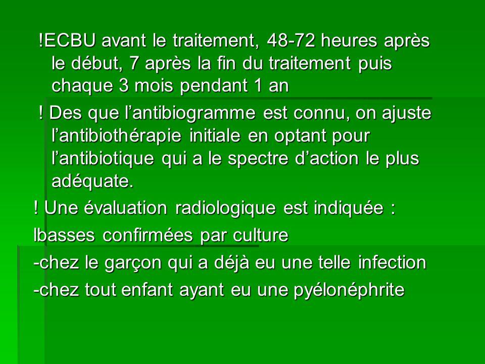 !ECBU avant le traitement, 48-72 heures après le début, 7 après la fin du traitement puis chaque 3 mois pendant 1 an !ECBU avant le traitement, 48-72 heures après le début, 7 après la fin du traitement puis chaque 3 mois pendant 1 an .