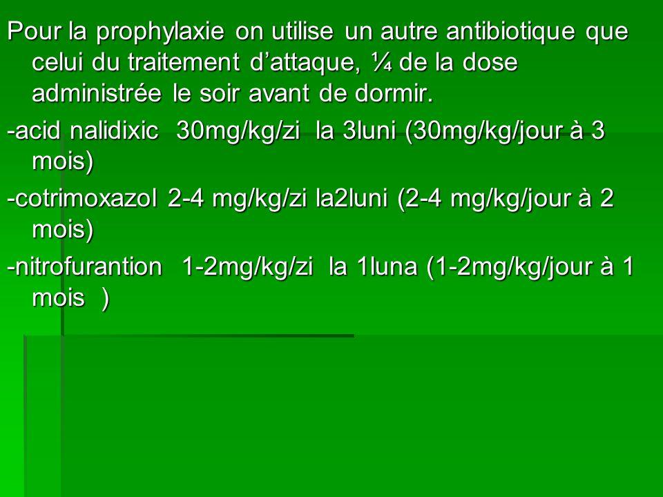 Pour la prophylaxie on utilise un autre antibiotique que celui du traitement dattaque, ¼ de la dose administrée le soir avant de dormir.