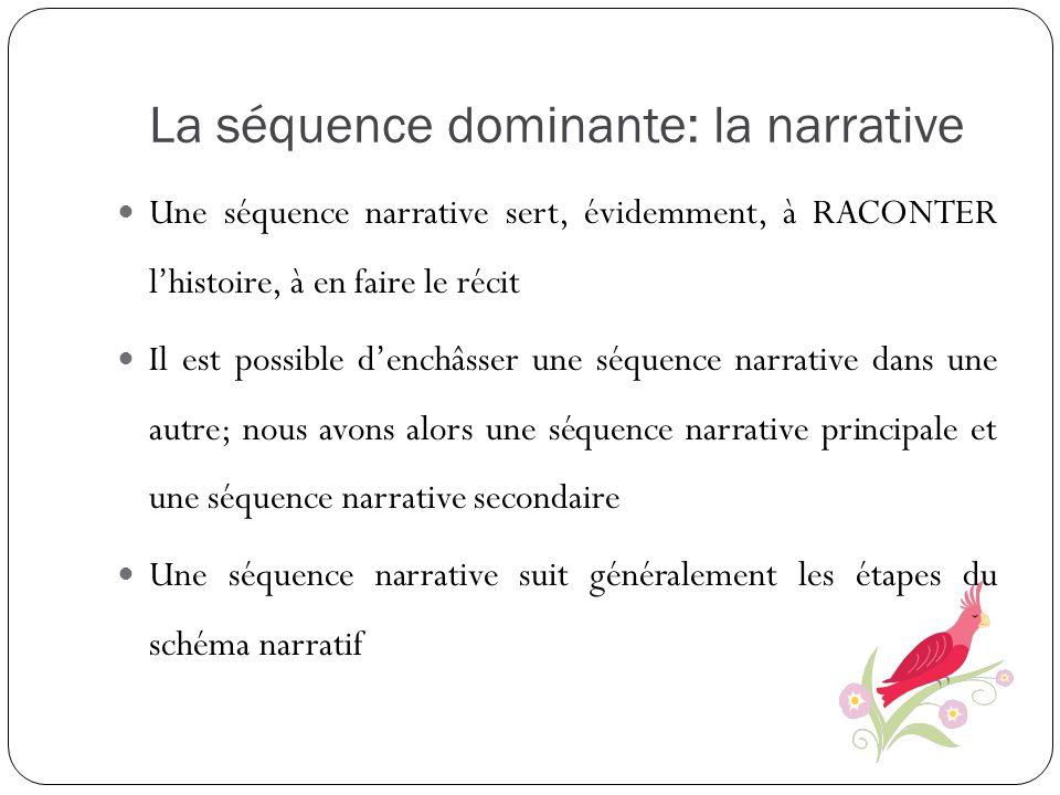 La séquence dominante: la narrative Une séquence narrative sert, évidemment, à RACONTER lhistoire, à en faire le récit Il est possible denchâsser une