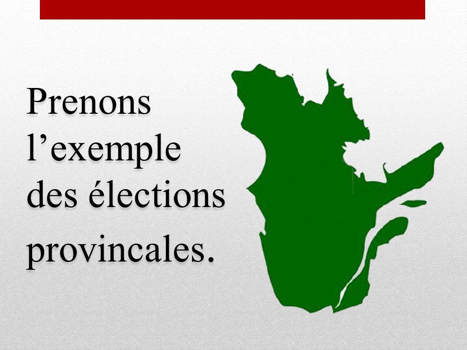 Prenons lexemple des élections provincales.