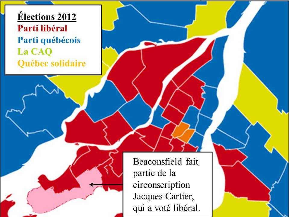 Élections 2012 Parti libéral Parti québécois La CAQ Québec solidaire Beaconsfield fait partie de la circonscription Jacques Cartier, qui a voté libéral.