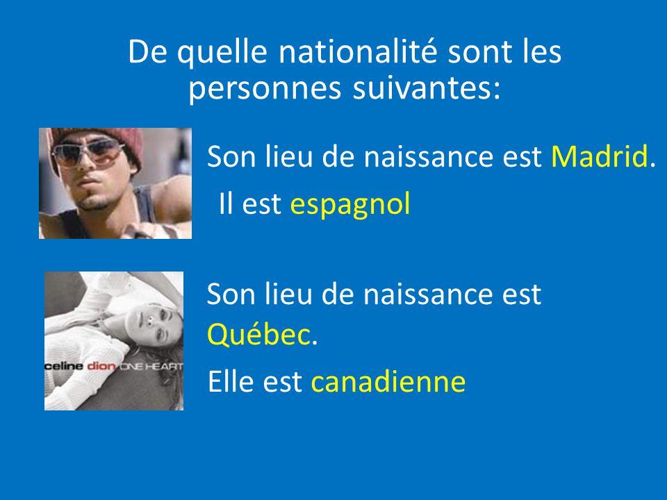Son lieu de naissance est Madrid. Il est espagnol Son lieu de naissance est Québec. Elle est canadienne De quelle nationalité sont les personnes suiva