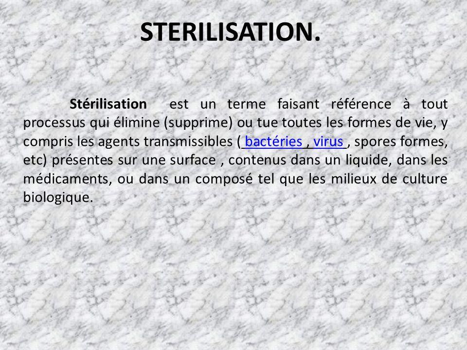 STERILISATION. Stérilisation est un terme faisant référence à tout processus qui élimine (supprime) ou tue toutes les formes de vie, y compris les age
