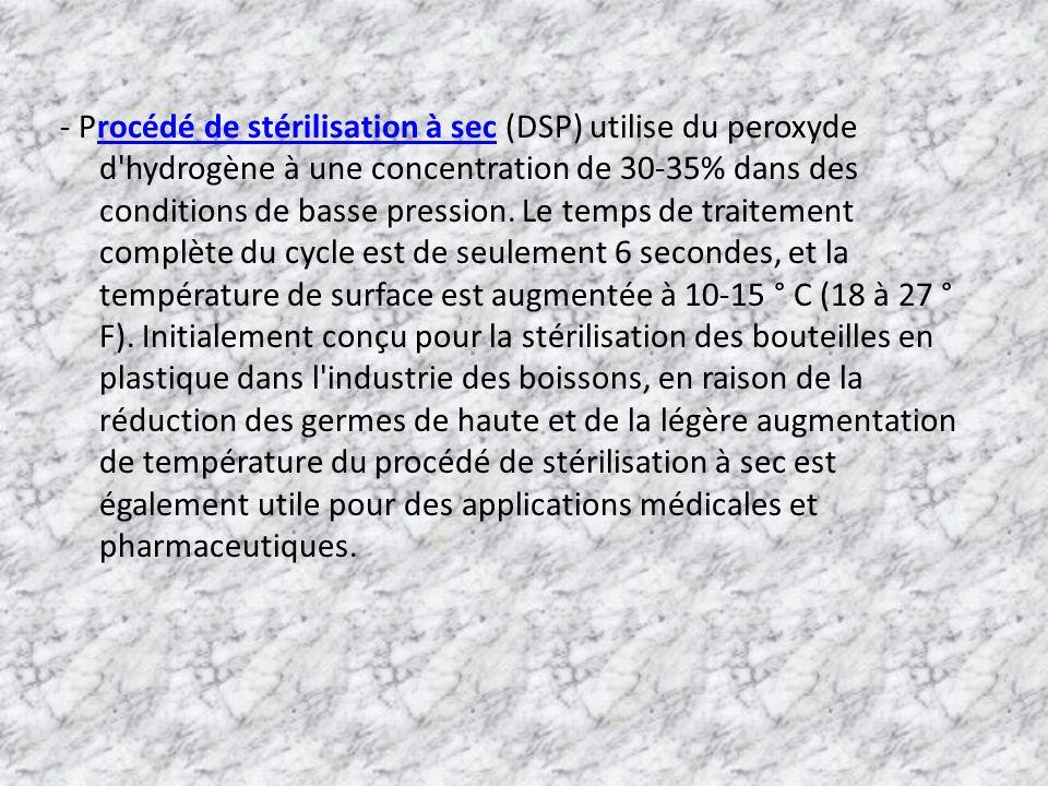 - Procédé de stérilisation à sec (DSP) utilise du peroxyde d'hydrogène à une concentration de 30-35% dans des conditions de basse pression. Le temps d