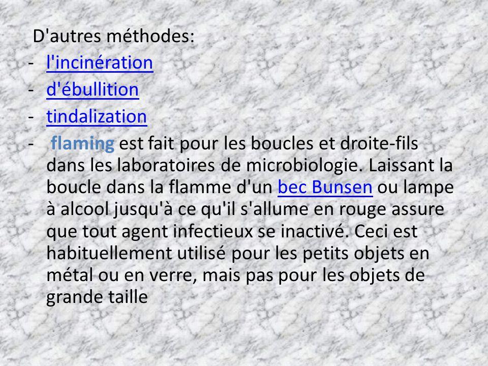 D'autres méthodes: -l'incinérationl'incinération -d'ébullitiond'ébullition -tindalizationtindalization - flaming est fait pour les boucles et droite-f