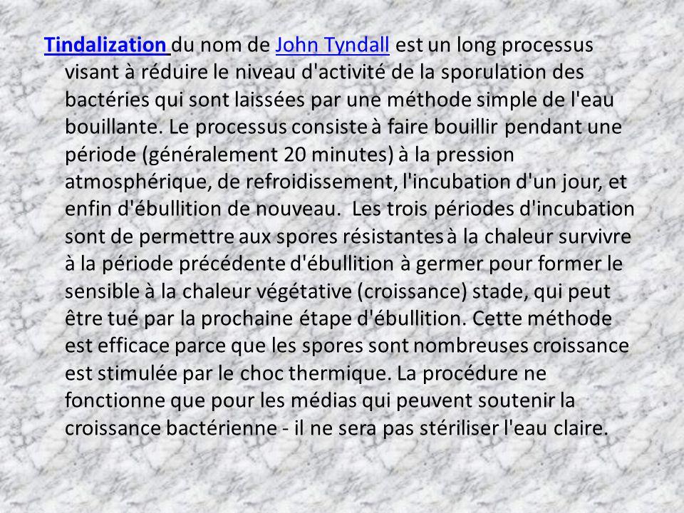 Tindalization du nom de John Tyndall est un long processus visant à réduire le niveau d'activité de la sporulation des bactéries qui sont laissées par