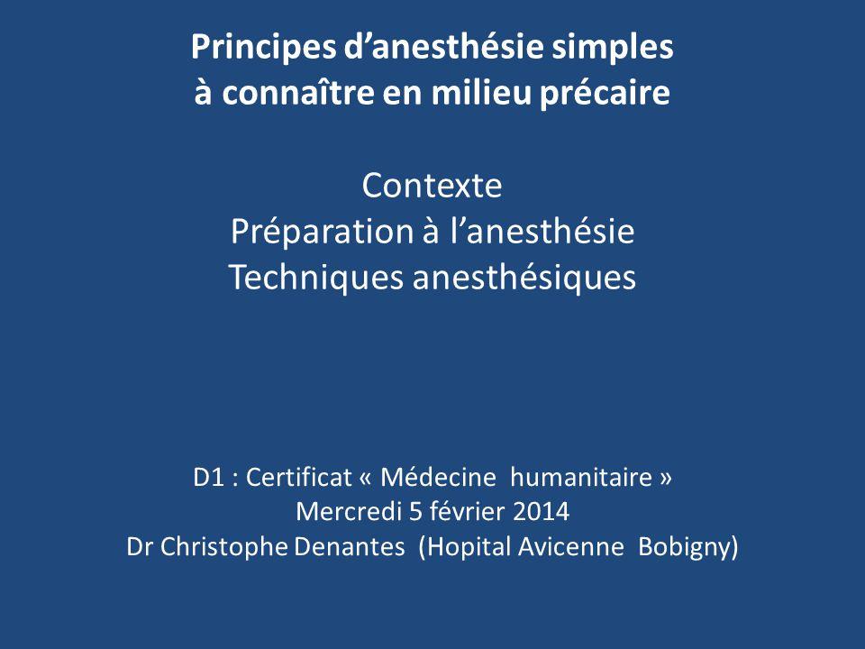 Principes danesthésie simples à connaître en milieu précaire Contexte Préparation à lanesthésie Techniques anesthésiques D1 : Certificat « Médecine hu