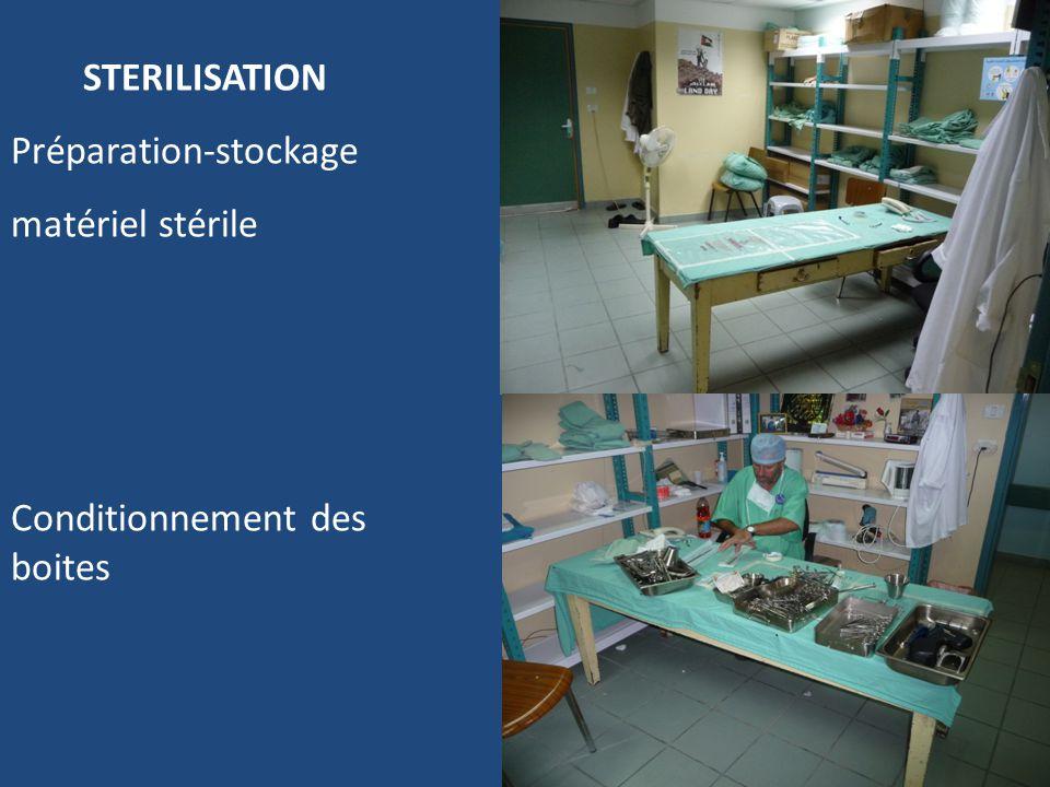 28 STERILISATION Préparation-stockage matériel stérile Conditionnement des boites