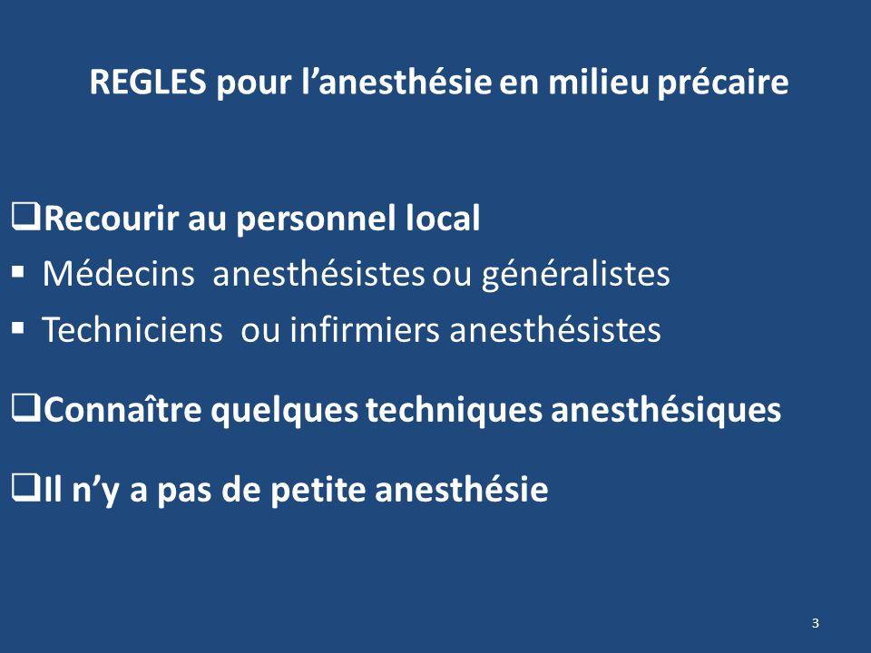 REGLES pour lanesthésie en milieu précaire Recourir au personnel local Médecins anesthésistes ou généralistes Techniciens ou infirmiers anesthésistes