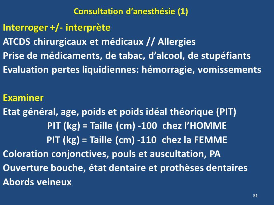 31 Consultation danesthésie (1) Interroger +/- interprète ATCDS chirurgicaux et médicaux // Allergies Prise de médicaments, de tabac, dalcool, de stup