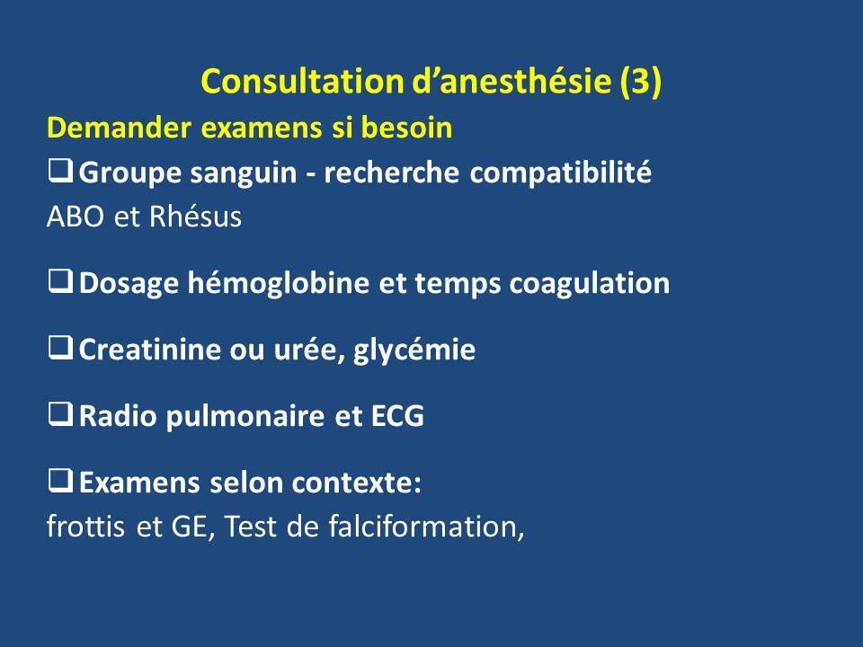 Consultation danesthésie (3) Demander examens si besoin Groupe sanguin - recherche compatibilité ABO et Rhésus Dosage hémoglobine et temps coagulation