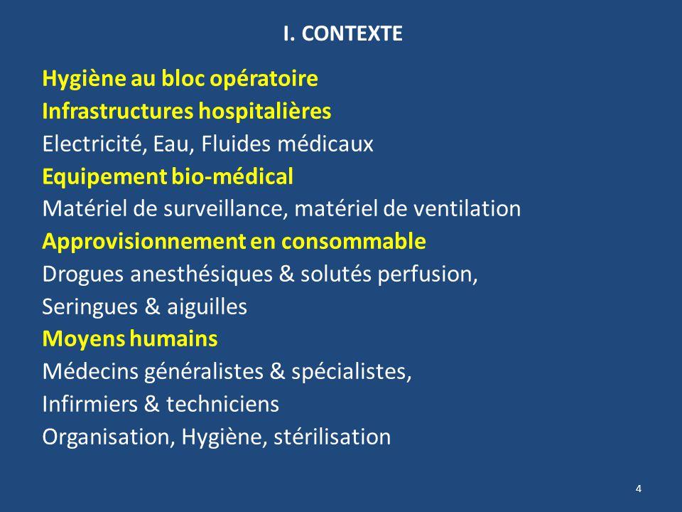 4 I. CONTEXTE Hygiène au bloc opératoire Infrastructures hospitalières Electricité, Eau, Fluides médicaux Equipement bio-médical Matériel de surveilla