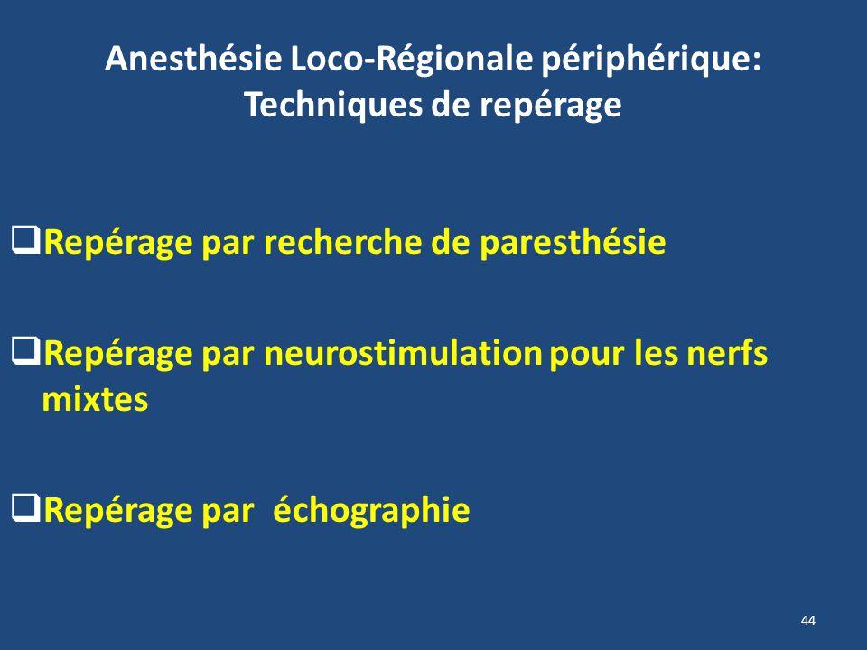 44 Anesthésie Loco-Régionale périphérique: Techniques de repérage Repérage par recherche de paresthésie Repérage par neurostimulation pour les nerfs m