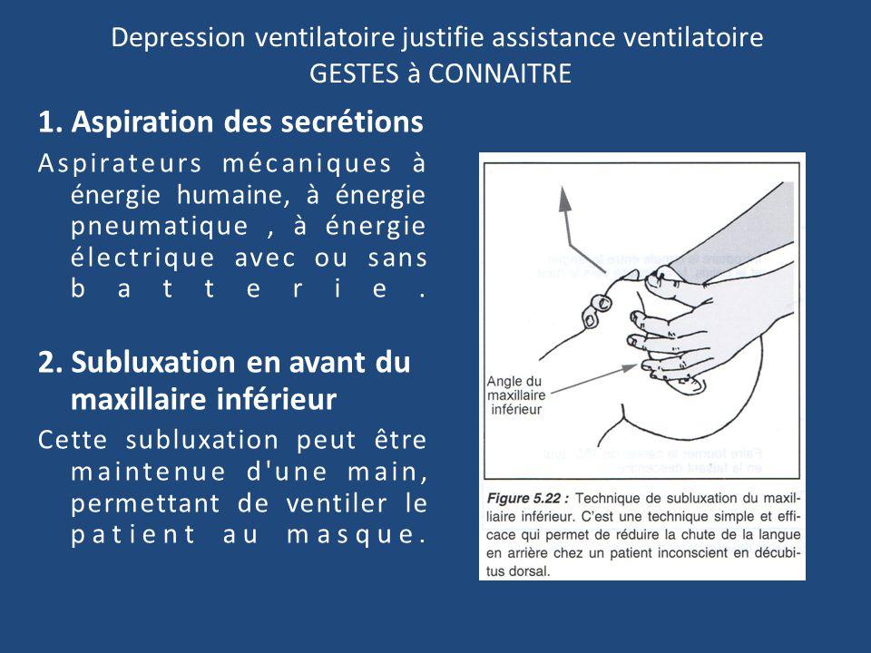 Depression ventilatoire justifie assistance ventilatoire GESTES à CONNAITRE 1. Aspiration des secrétions Aspirateurs mécaniques à énergie humaine, à é