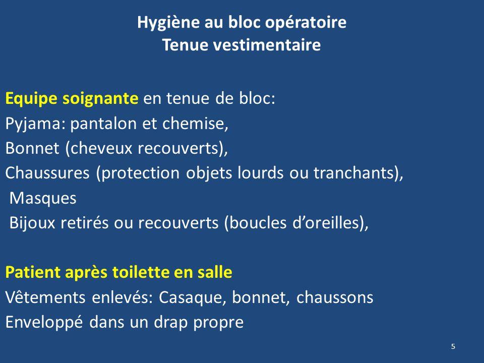 5 Hygiène au bloc opératoire Tenue vestimentaire Equipe soignante en tenue de bloc: Pyjama: pantalon et chemise, Bonnet (cheveux recouverts), Chaussur