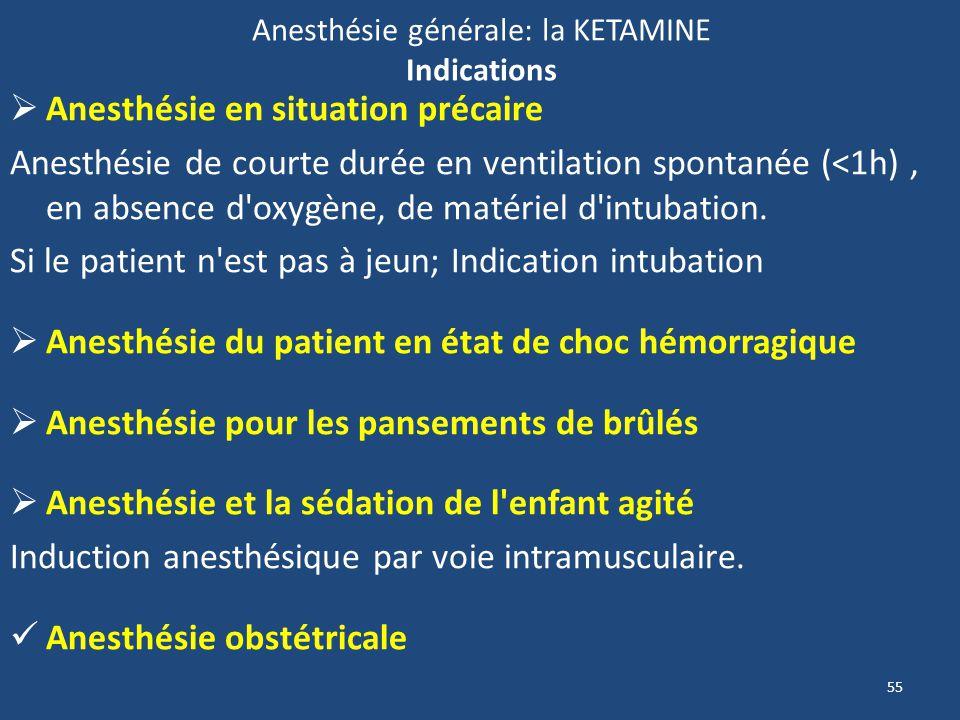 55 Anesthésie générale: la KETAMINE Indications Anesthésie en situation précaire Anesthésie de courte durée en ventilation spontanée (<1h), en absence